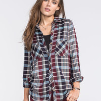Full Tilt Womens Tunic Flannel Shirt Burgundy  In Sizes