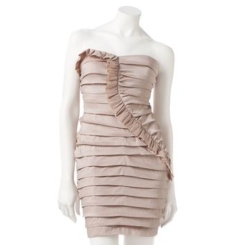 City Triangles Ruffled Pleated Strapless Dress - Juniors, Size: