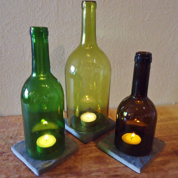 Tea Light Candle Holders Hurricane Lamps Lanterns Centerpiece made from Upcycled Wine Bottles Large Quantities Available