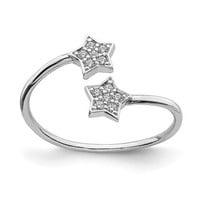 Sterling Silver CZ Stars Bypass Adjustable Ring