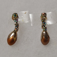 Bogoff Vintage Brown and Rhinestone Dangling Earrings