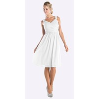 Knee Length White Beach Wedding Bridesmaid Dress Flowy Chiffon
