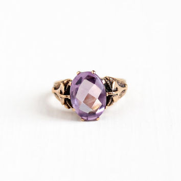 Antique Victorian 10k Rose Gold Amethyst Ring - Late 1800s Vintage Size 6 Purple Checkerboard Cabochon Gemstone Fine Jewelry