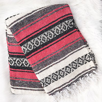 Authentic Mexican Blanket in Salmon Pink