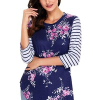 Navy Striped Sleeves and Floral Print