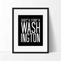 Washington DC, Washington Wall Art, Washington Art Print, Washington Coordinates, City Art, Typography, Washington Decor, Gift For Friend