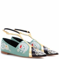 Embroidered leather ballerinas