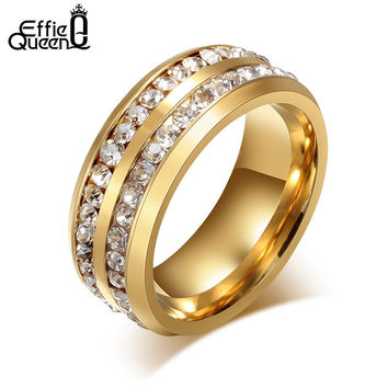 High Quality Titanium Steel Rings Fashion 2 Lines Eternity Crystal Jewelry Lover Birthday Gift for Men Women Finger Ring WTR29