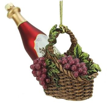 """4.5"""" Tuscan Winery Red Glass Wine Bottle in Basket Christmas Ornament"""
