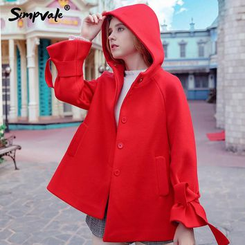 SIMPVALE Winter Thick Bow Sleeve Tab Hooded Wool Coat Women Red A-Line Woolen Coats With Hat Female Fashion Slim casaco feminino