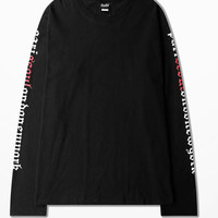 Ins Men Korean Fashion T Shirt Ulzzang Retro Long Sleeve T Shirts Personality Letters Print On Sleeve Novelty T Shirt Santacruz