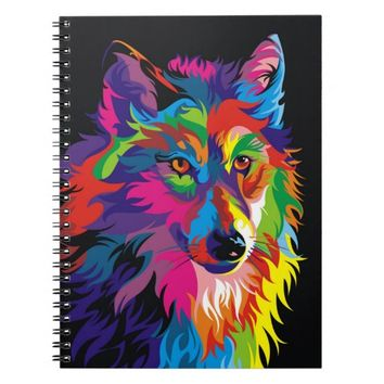 Colorful Wolf Spiral Notebook