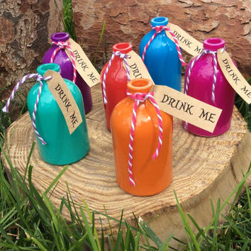 Alice in Wonderland Decor Tea Party Birthday Decorations Drink Me Bottles Mad Hatter Purple Blue or Pink