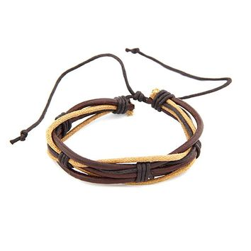 Women Men Wristband Multilayer Leather Chain Charms Bracelet Wrist Gift