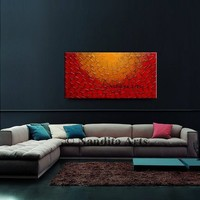 Painting, Red GOLD Textured Office Decor, ORIGINAL Painting, Abstract Palette Knife Artwork, Textured Oil Painting, Fine Art by Nandita