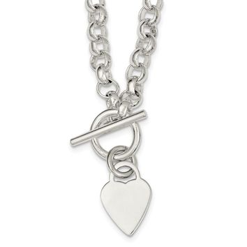 925 Sterling Silver Engraveable Heart Disc on Fancy Link Toggle Necklace, Bracelet