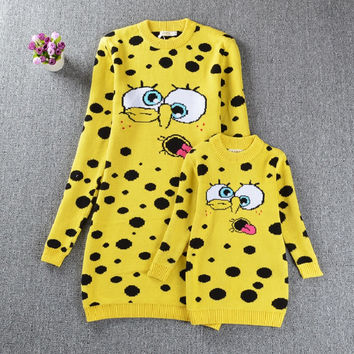 Mother and Daughter Clothes SpongeBob Sweaters Family Matching Outfits Sweaters for Mom and Kids Fashion Cardigan Sweaters