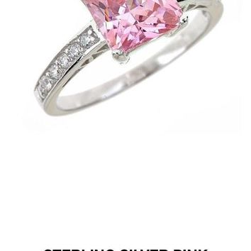 Pink sapphire princess cut engagement ring