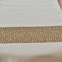 Champagne beige Table runner - Linen table runners with copper sequin and beads embroidery -Christmas dining - thanksgiving table- gift set