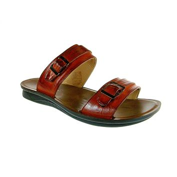 Mens Majestic Double Strap Slip On Sandals 28523 Tan