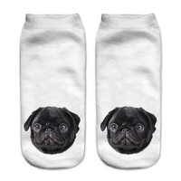 Black Pug Ankle Socks
