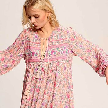 Vintage pink boho dress rayon floral print long dess V-neck sleeve tassel tied women dresses Spring Summer dress