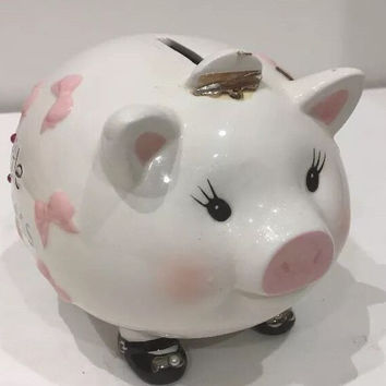 Mud Pie Adorable Baby Little Princess Tiara Piggy Bank w/ Pink Bows on Her Body