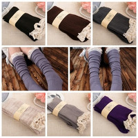 Fashion Women's Knit Lace Trim Leg Warmers Cotton Boot Stockings Knee High Socks = 1958037892