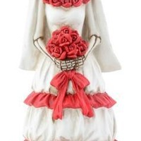 Skeleton Red and White Bride Day of the Dead Statue 8H