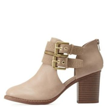 Light Taupe Double-Belted Chunky Heel Booties by Charlotte Russe