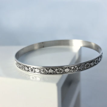 Floral Sterling Bangle Bracelet - Etched Sterling Bangle - Vintage Bangle Bracelet