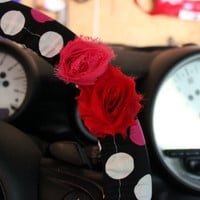 Polka Dot Steering Wheel Cover with Shabby Chic Rose in Pink and Red