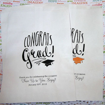 Party Favor Bags - Candy Bags - Popcorn Bags - Graduation Party Favors - Party Supplies -  CB01GRD