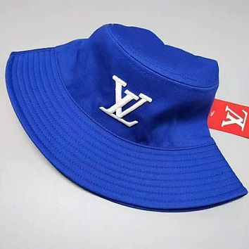 LV Louis Vuitton Popular Women Men Embroidery Shade Sunhat Fisherman Hat Cap Blue