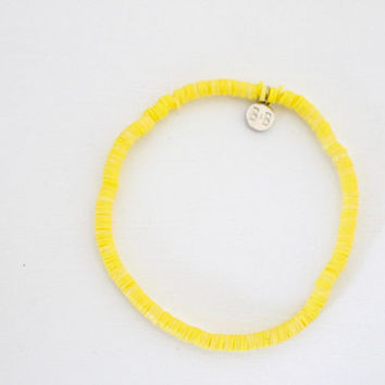 Stretchy Beaded Anklet - Sun // Yellow