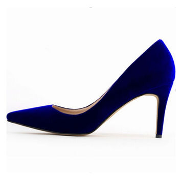 2017 Fashion Women Soft Velvet Med High Heel Pointed Toe Pump Sexy Ladies Work Bridal Party Court Shoes Plus Size W826
