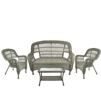 4-Piece Driftwood Green Steel Resin Outdoor Patio Furniture Set - Loveseat  2 Chairs and Table