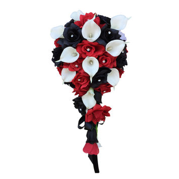 Cascade Bouquet - Red Black and White Artificial roses with White Real touch Calla Lily