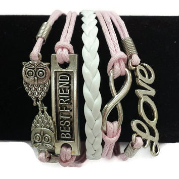 Pink & White Owls/Best Friend/Infinity/Love Layered Cord Bracelet
