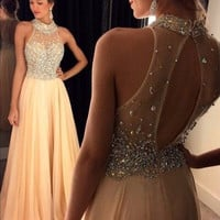 Halter Prom Dress,High Neck Long Prom Dresses,Evening Dresses