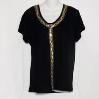 Size 1X Top Black with Gold Trim Roman Fashions New