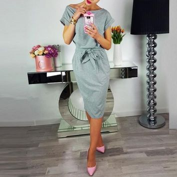 New Women Summer 2019 Dress Knee-length Sexy Bandage Bodycon Dress Short Sleeve Solid Casual Dresses Sundress Femme Xl designer clothes