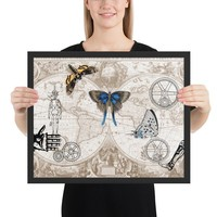 Steampunk Framed Art Print - maps, butterflies, antique illustrations of gears and machines