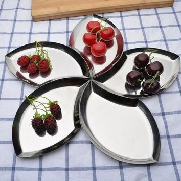 DCCKL72 Multifunction 1pcs Leaf Shape Splicing fruit plate Stainless Steel Fruit tools Dried fruit dish Kitchen Tools C