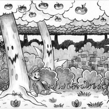 Mario Sitting in a Forest Drawing