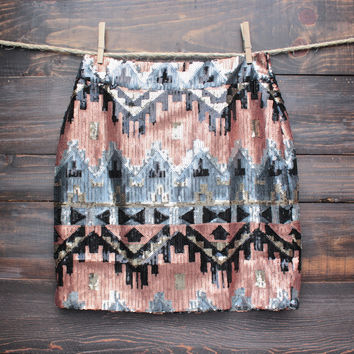 final sale - full of sequins high waisted skirt