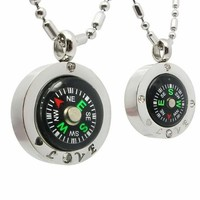 """JewelryWe Fashion Stainless Steel """"Love"""" Couple's Compass Pendant Necklaces (wit Gift Bag)"""