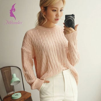 Milwaukee Autumn 6 Style Women Knitted Sweater Pure Color Twist Bottoming Top Fashion Female Sweater And Pullovers