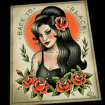 Amy Winehouse Tattoo Flash Art Print