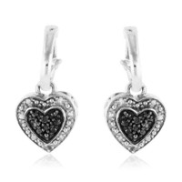 1/5 Carat Black & White Diamond Heart Dangle Earrings in Sterling Silver | AihaZone Store